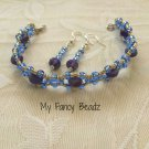 Blue-Indigo Bracelet and Earrings Set