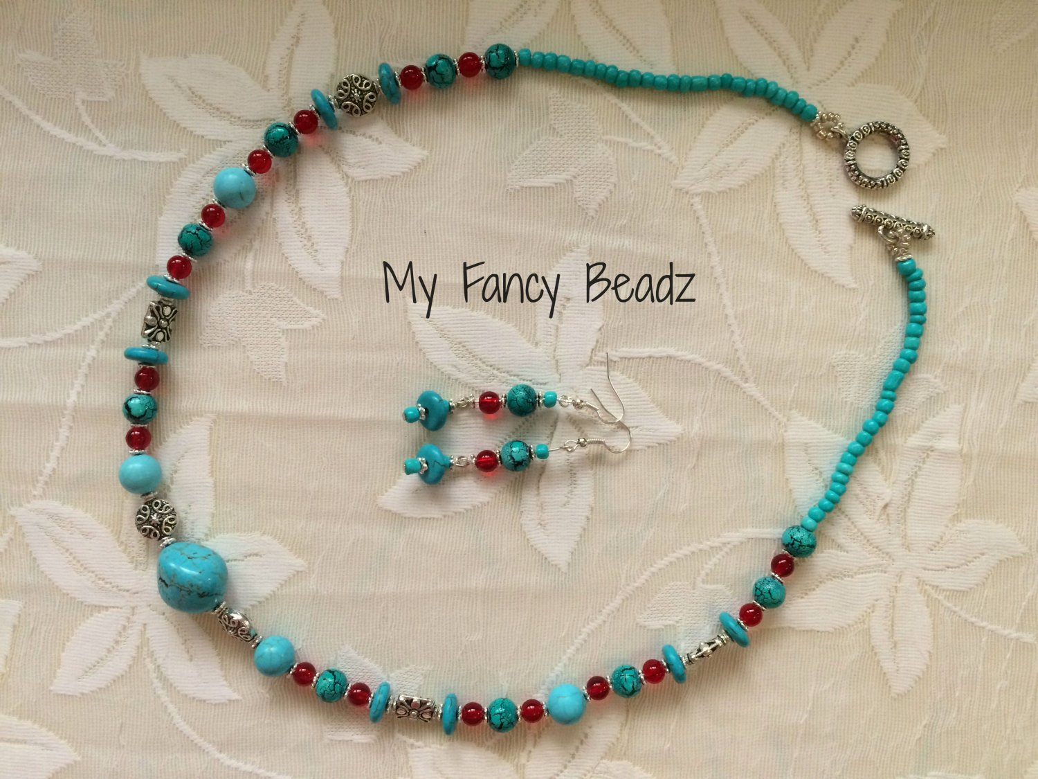 Bold Turquoise Necklace and Earrings Set