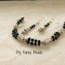 Black & White gemstone Bracelet and Earrings Set