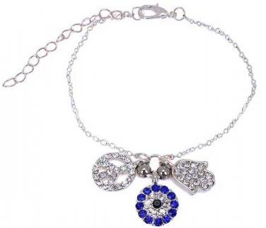 Hamsa Silver Plates charm Bracelet