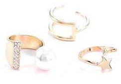 Trio Crystal Finger Rings set