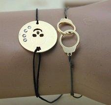 Gold Plated Handcuffs & Skull set bracelet
