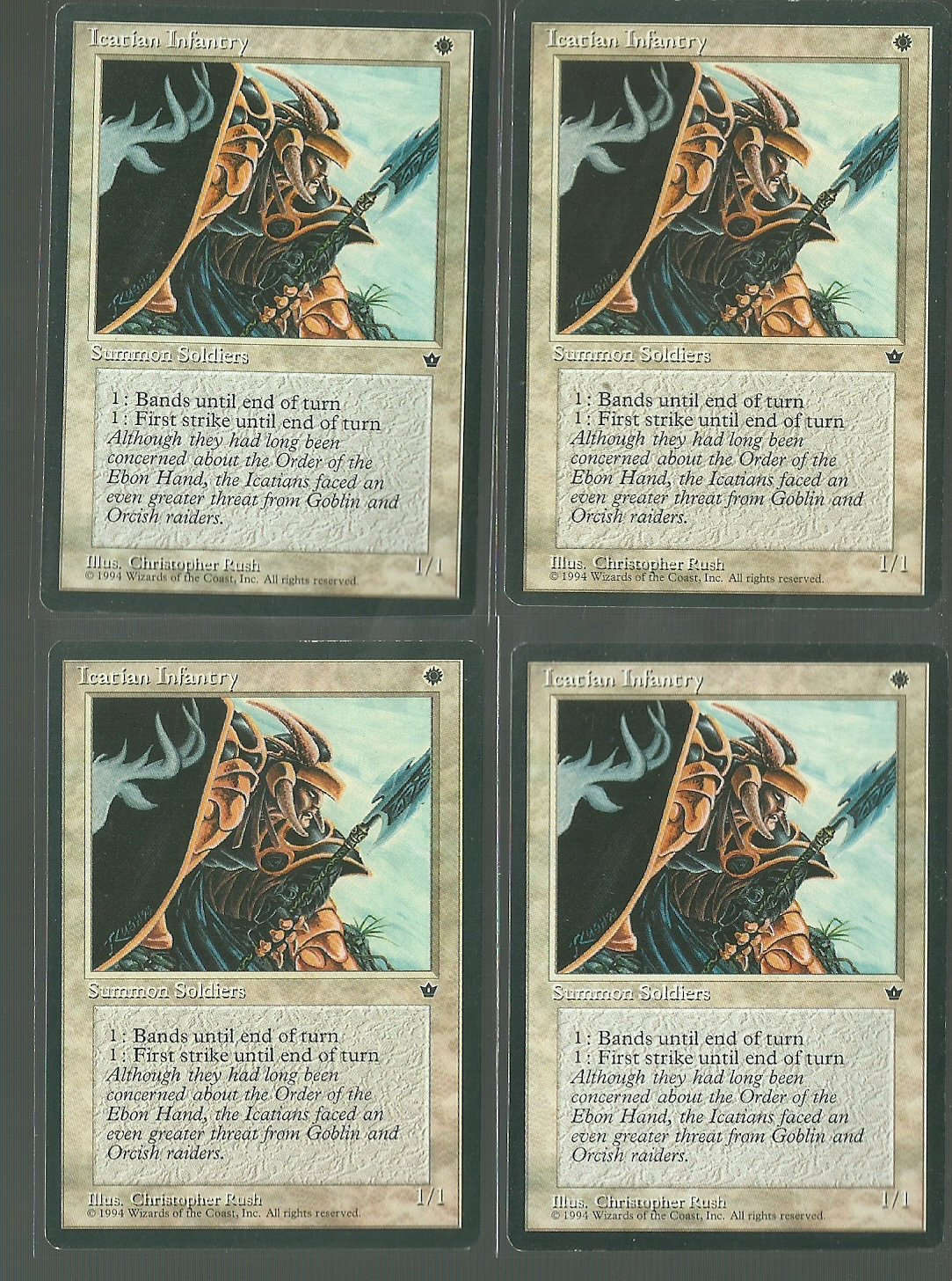 Icatian Infantry V3 x4 - Good - Fallen Empires - Magic the Gathering