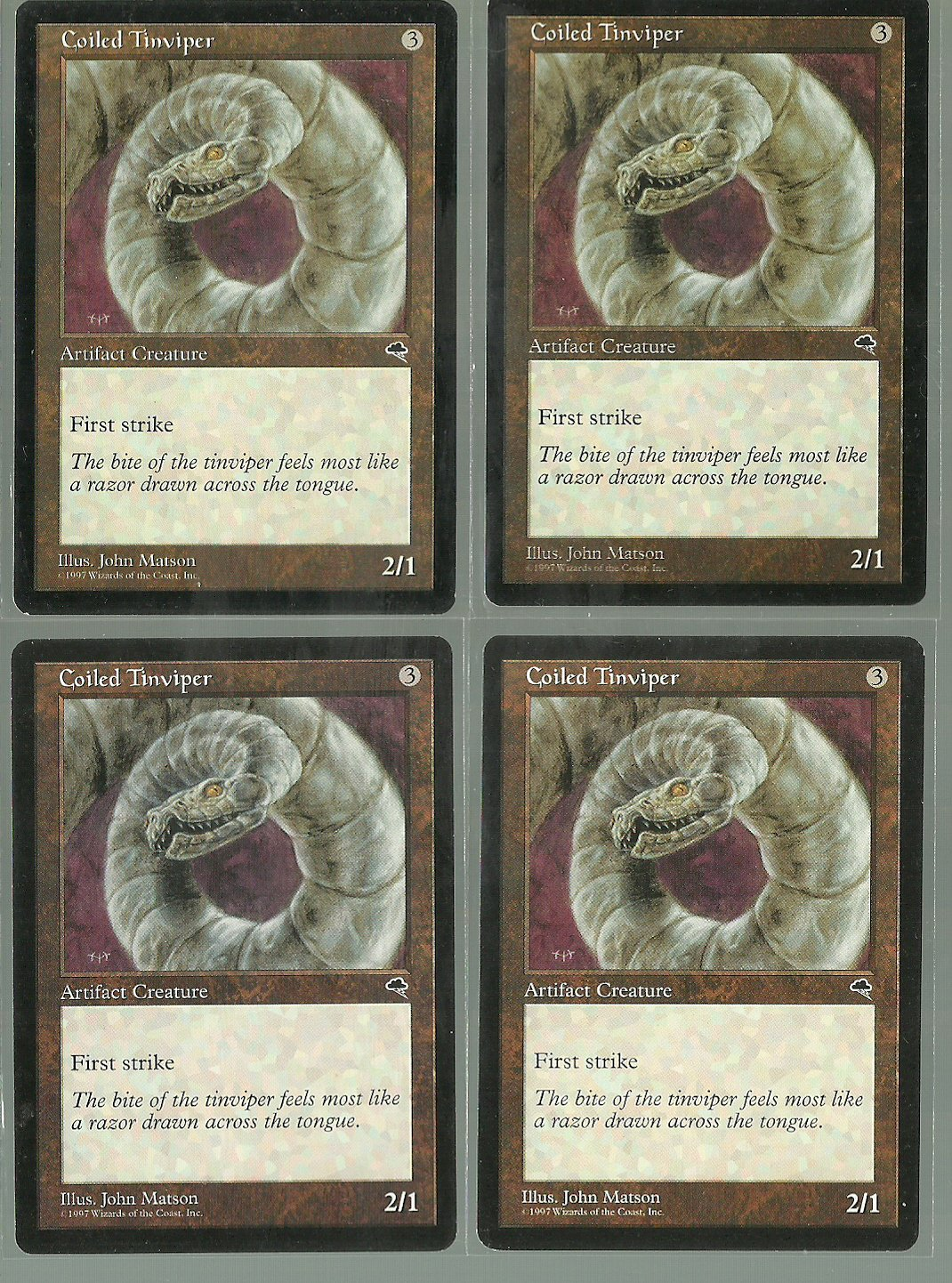 Coiled Tinviper x4 NM Tempest Magic the Gathering