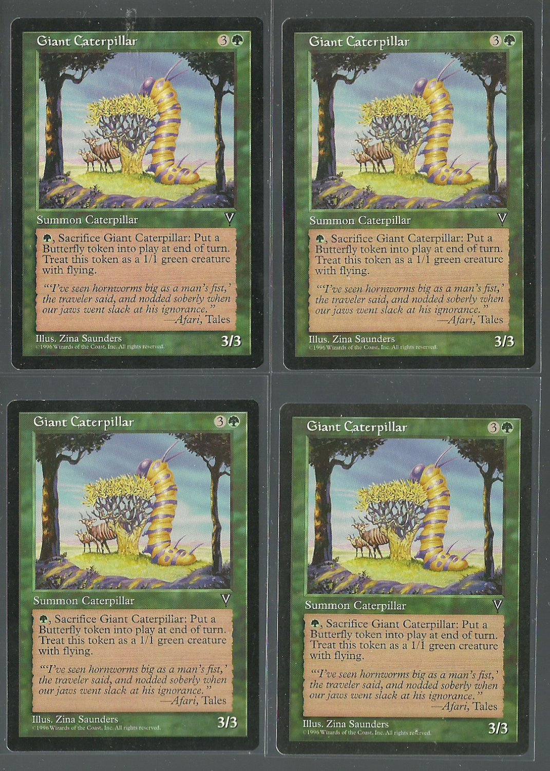 Giant Caterpillar x4 NM Visions Magic the Gathering