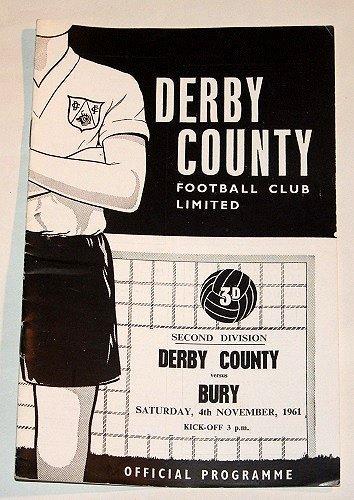 DERBY COUNTY v BURY - 04.NOV.61 - Football Programme