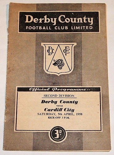 DERBY COUNTY v CARDIFF CITY - 05.APR.58 - Football Programme