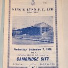 KINGS LYNN v CAMBRIDGE CITY - 07.SEP.1966 - Football Programme