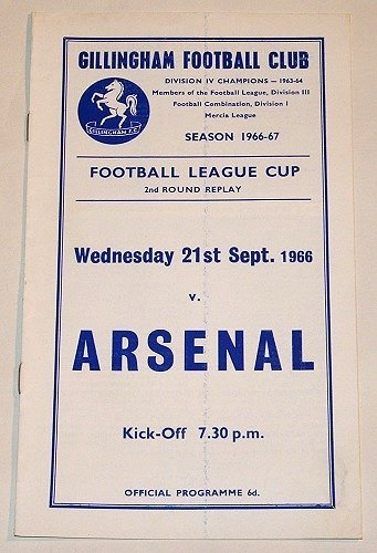 GILLINGHAM v ARSENAL - 21.SEP.66 - Football Programme