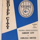 CARDIFF CITY v CARLISLE UNITED - 20.APR.68 - Football Programme