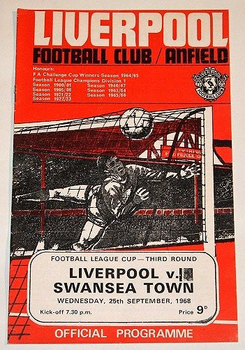 LIVERPOOL v SWANSEA TOWN - 25.SEP.68 - Football Programme