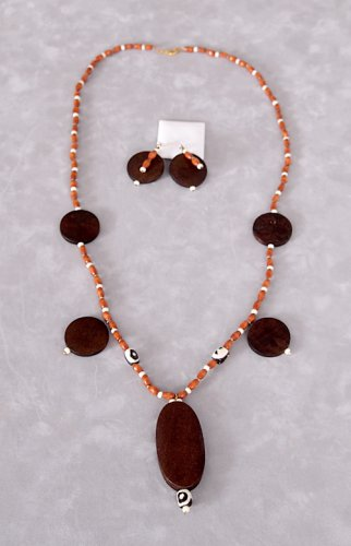 Handmade Long Chunky Texture Wood Jewelry Set With Real Bone Beads
