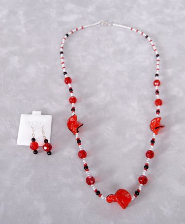 Handmade Jewelry Set Inspired by Fire Includes Necklace and Earrings