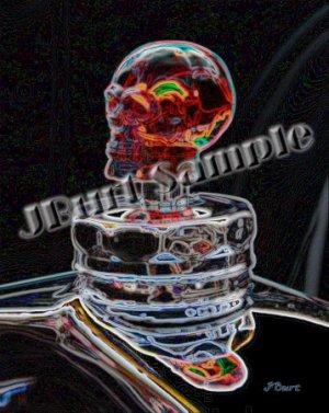 JBURTPHOTOS Original 8x10 Print - Neon Skull Car Hood Ornament