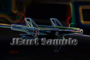 JBURTPHOTOS Original 8x10 Neon Art Print of a Classic 1955 Chevy Car Hood Ornament Eagle Rocket