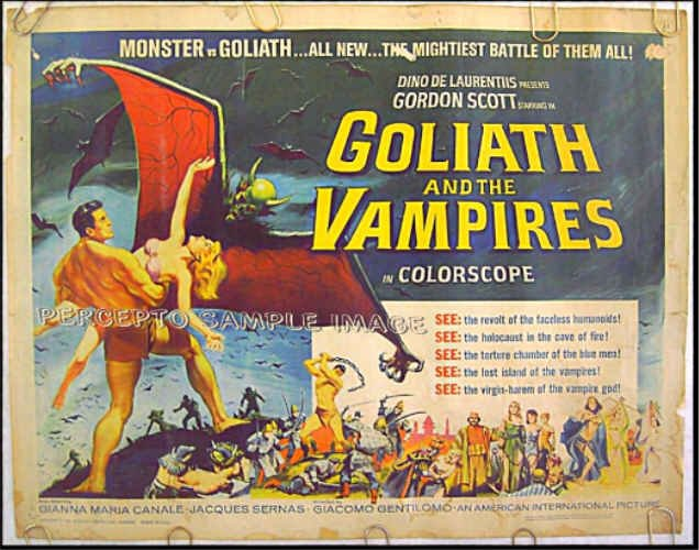 GOLIATH & THE VAMPIRES  Sexy '64 Half-Sheet Poster! GORDON SCOTT