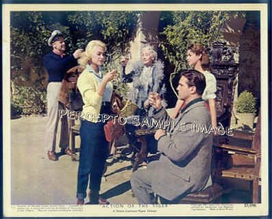 ACTION OF THE TIGER ~ Orig '57 Color Movie Photo ~  a toast with VAN JOHNSON & MARTINE CAROL