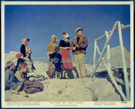 ACTION OF THE TIGER ~Orig '57 Color Movie Photo ~  VAN JOHNSON / MARTINE CAROL / ANNA GERBER