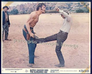 BUTCH CASSIDY AND THE SUNDANCE KID ~ '73 Orig Movie Photo ~ PAUL NEWMAN Kicks TED CASSIDY