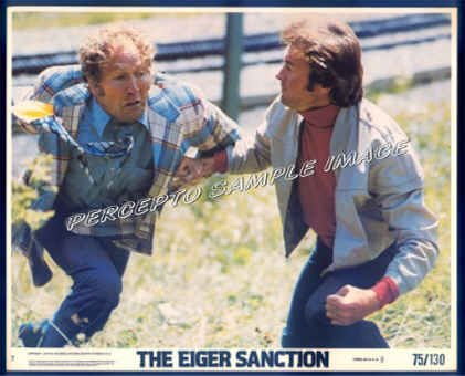 The EIGER SANCTION  ~ Orig '75 Color Movie Photo ~ Punch  CLINT EASTWOOD