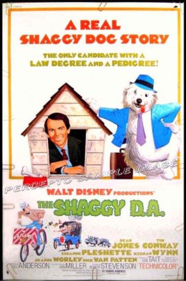 SHAGGY D A   ~ Rare Size '77 40x60 WALT DISNEY Movie Poster ~  DEAN JONES / SUZANNE PLESHETTE
