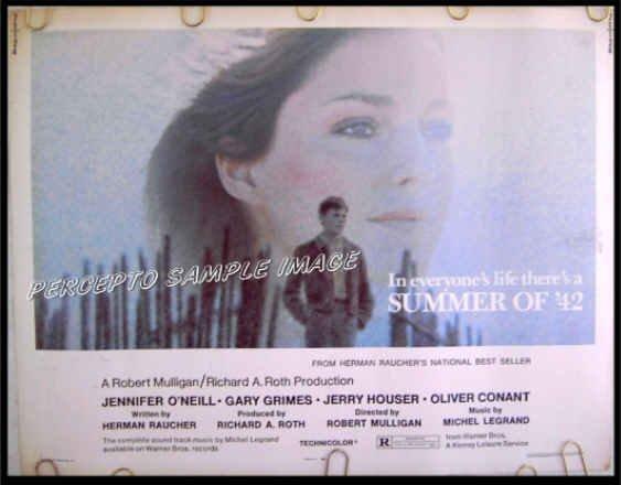 SUMMER OF '42  Rare-Size US '71 Half-Sheet Movie Poster!  JENNIFER O'NEILL