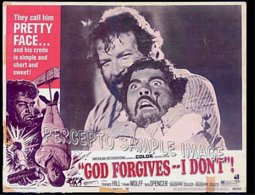 GOD FORGIVES I DON'T! ~  '69 AIP Action Movie Lobby Card ~  BUD SPENCER