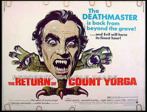 RETURN OF COUNT YORGA ~ '71 AIP Half-Sheet Vampire Movie Poster ~  ROBERT QUARRY / MARIETTE HARTLEY