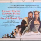 ANNE OF THE THOUSAND DAYS ~ '69 Half-Sheet Movie Poster ~ GENEVIEVE BUJOLD / RICHARD BURTON