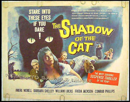 SHADOW OF THE CAT - '61Horror Half-Sheet Movie Poster! - BARBARA SHELLEY