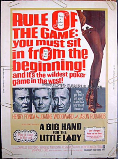 A BIG HAND FOR THE LITTLE LADY - '66 Orig 30x40 POKER Movie Poster! - HENRY FONDA / JOANNE WOODWARD