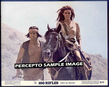 100 RIFLES ~ Orig '69 Movie Photo ~ On Horseback RAQUEL WELCH