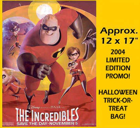 The INCREDIBLES ~ '04 HALLOWEEN TRICK-OR-TREAT MOVIE PROMO BAG ~ DISNEY / PIXAR Animation