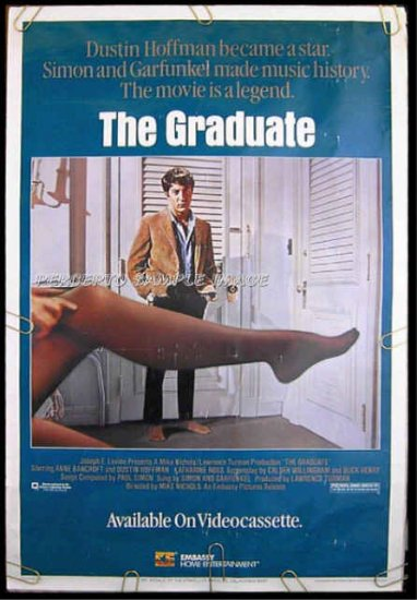 The GRADUATE ~ Orig '85 1-Sheet Movie Poster ~ DUSTIN HOFFMAN / ANNE BANCROFT / KATHARINE ROSS