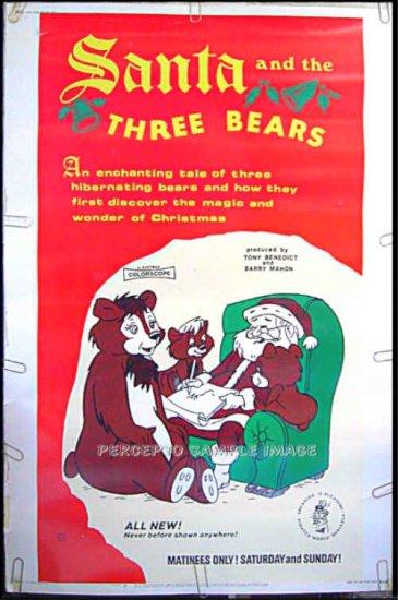 SANTA And The 3 BEARS ~ RARE '70 40X60 Animation Movie Poster ~ CHRISTMAS / HOLIDAY
