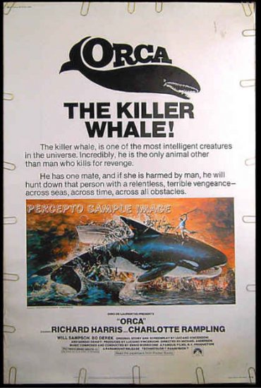 ORCA The KILLER WHALE - Rare-Size '77 40X60 Movie Poster - RICHARD HARRIS / CHARLOTTE RAMPLING