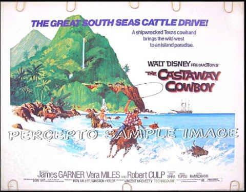 CASTAWAY COWBOY ~ '74 WALT DISNEY Half-Sheet Movie Poster ~ JAMES GARNER / VERA MILES / ROBERT CULP
