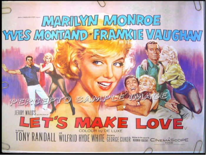 LET'S MAKE LOVE - 27x36 Ex-Cond 70s Repro Movie Poster - MARILYN MONROE / YVES MONTAND