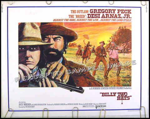 BILLY TWO HATS ~ '74 Half-Sheet Western Movie Poster ~ GREGORY PECK / DESI ARNAZ JR / JACK WARDEN