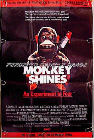 MONKEY SHINES ~ '88 HORROR 1-Sheet Movie Poster ~ GEORGE ROMERO / JASON BEGHE / JOYCE VAN PATTEN