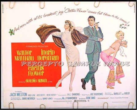 CACTUS FLOWER ~ '69 Half-Sheet Movie Poster ~ INGRID BERGMAN / WALTER MATTHAU / GOLDIE HAWN