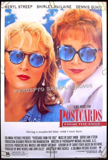 POSTCARDS FROM THE EDGE ~ '90 1-Sheet Movie Poster ~ MERYL STREEP / SHIRLEY MacLAINE / DENNIS QUAID