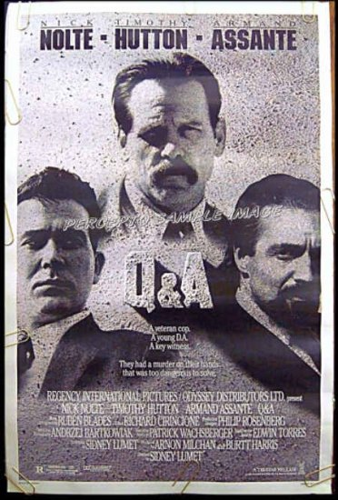 Q&A ~ '90 1-Sheet Movie Poster ~ Nick NOLTE / Armand ASSANTE / Timothy HUTTON / Q and A