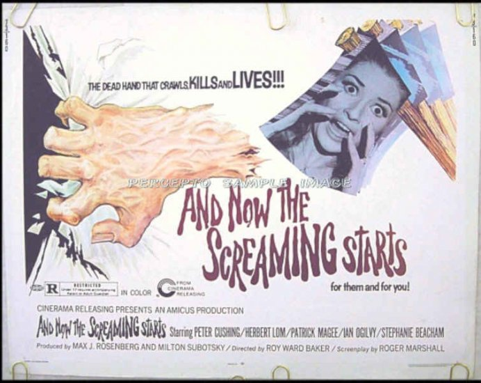 AND NOW THE SCREAMING STARTS - '73 HS Movie Poster - PETER CUSHING / HERBERT LOM / IAN OGILVY