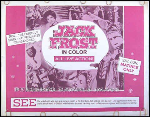 JACK FROST ~ Rare 60s US Half-Sheet Movie Poster ~ RUSSIAN EPIC FAMILY FANTASY