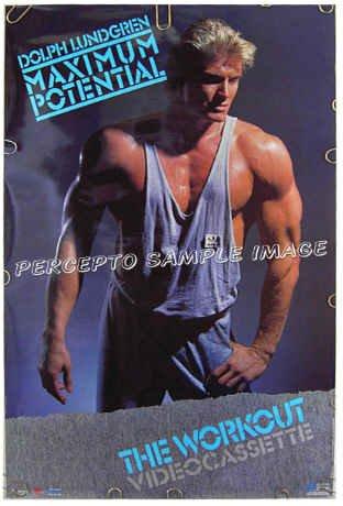 DOLPH LUNDGREN - Sexy Rare '86 ACTOR / BODYBUILDER Workout Poster