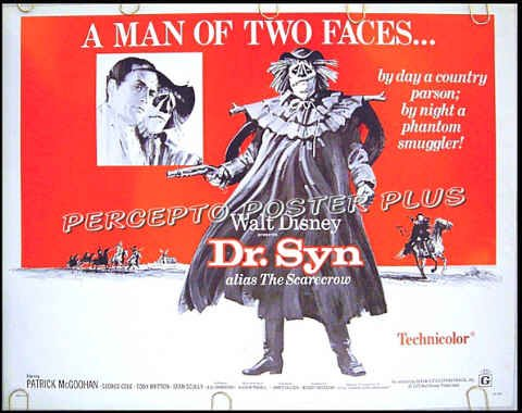 DR. SYN Alias: THE SCARECROW - '75 WALT DISNEY Half-Sheet Movie Poster - PATRICK McGOOHAN