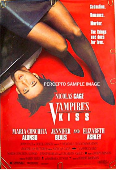 VAMPIRE'S KISS ~ Sexy '88 1-Sheet Movie Poster ~ NICHOLAS CAGE / JENNIVER BEALS / ELIZABETH ASHLEY