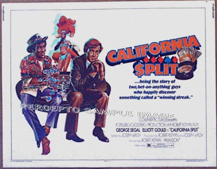 CALIFORNIA SPLIT ~ '74 VEGAS GAMBLING Half-Sheet Movie Poster ~ GEORGE SEGAL / ELLIOTT GOULD