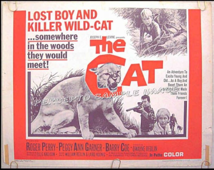 The CAT ~ Rare-Size '66 Half-Sheet Movie Poster ~ ROGER PERRY / PEGGY ANN GARNER / BARRY COE